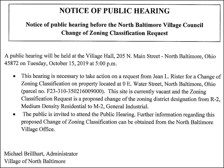 NOTICE OF PUBLIC HEARNG