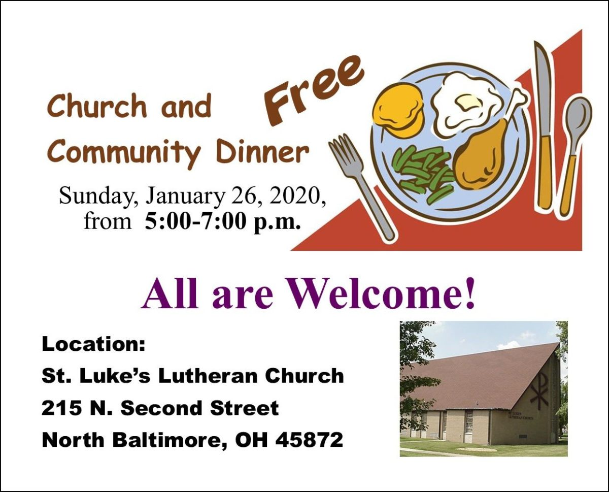 FREE Community Dinner is January 26th….