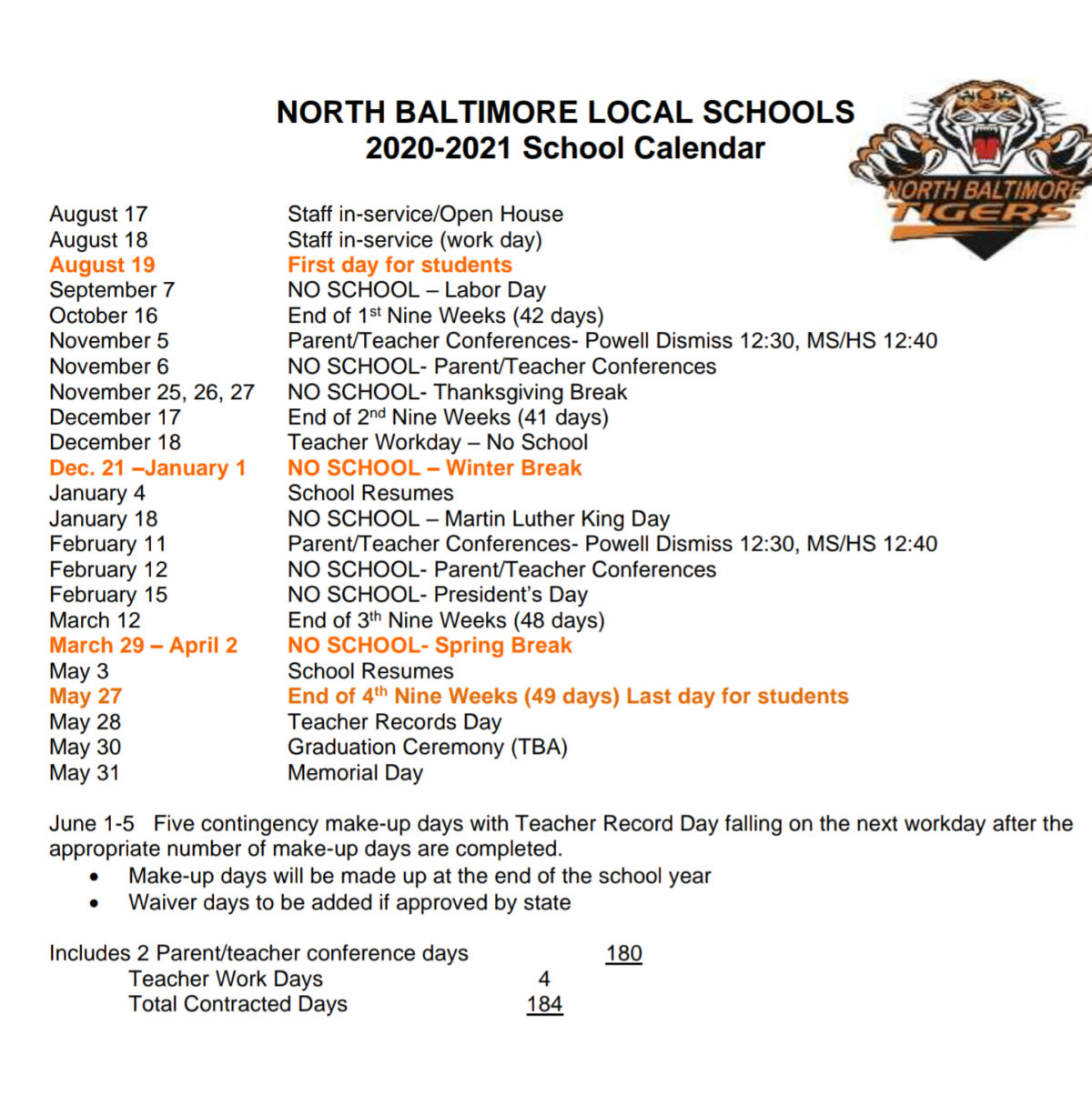 NBLS School Calendar 2020 – 21 – As of 2020.07.13