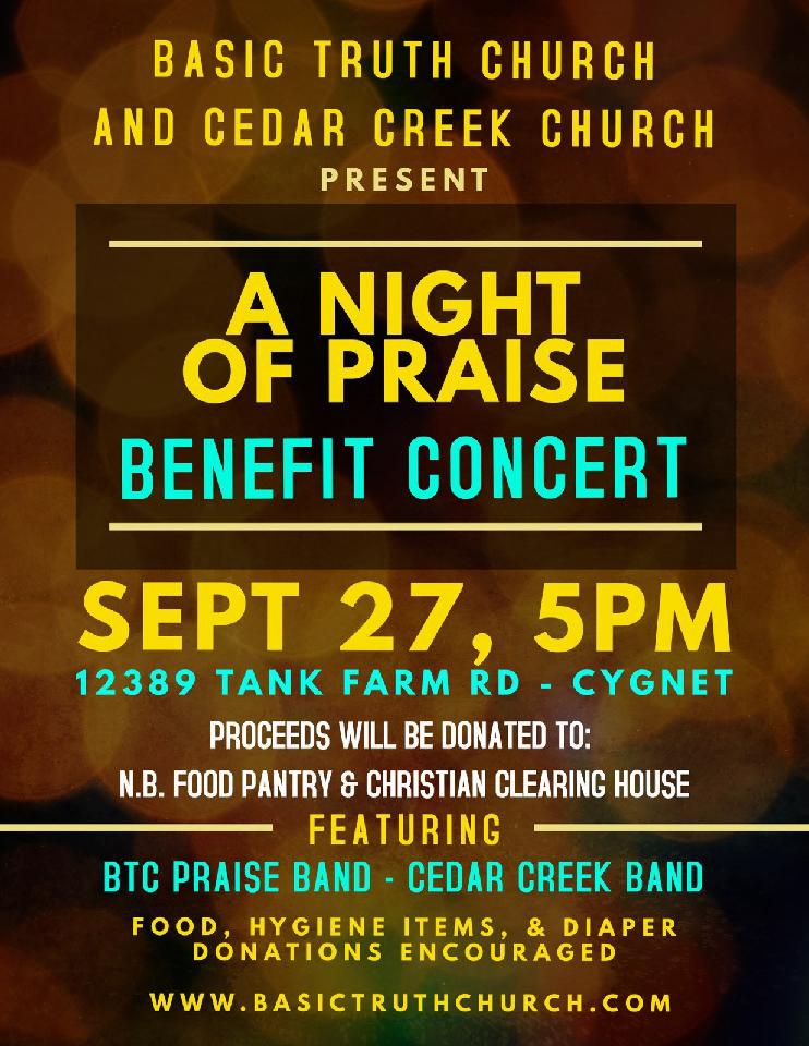 "TONIGHT: ""A Night of Praise"" Benefit Concert"